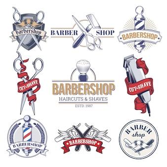 Colección de insignias, logotipos con herramientas de barbería.