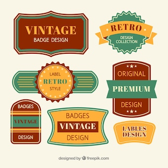 Colección de insignias vintage con diseño plano