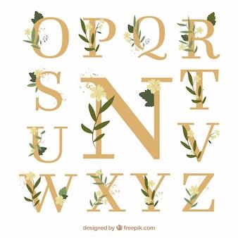 Colección de letras de boda con diseño plano