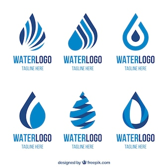 Colección de logos de agua para compañias en estilo plano