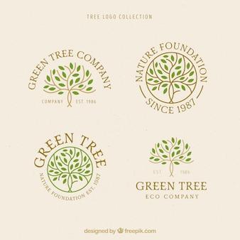 Colección de logos de árbol en estilo plano