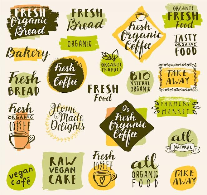 Colección de logos de café orgánico