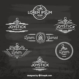 Colección de logos de joysticks retro con estilo elegante