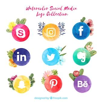 Colección de logos de redes sociales en estilo acuarela