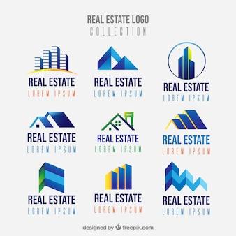 Colección de logotipos de bienes raíces en estilo plano