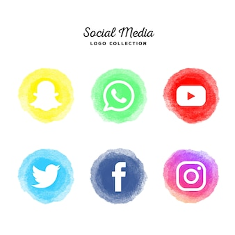 Colección de logotipos de redes sociales de acuarela