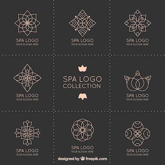 Colección de logotipos de spa en estilo de mandala
