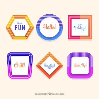 Colección de marcos coloridos con diseño plano