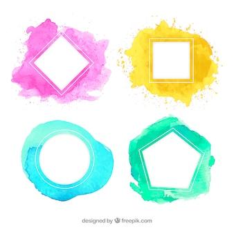 Colección de marcos coloridos en acuarela