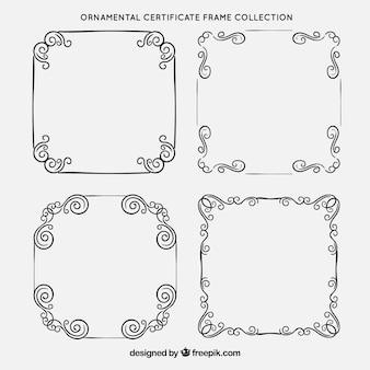 Colección de marcos de certificado con ornamentos vintage