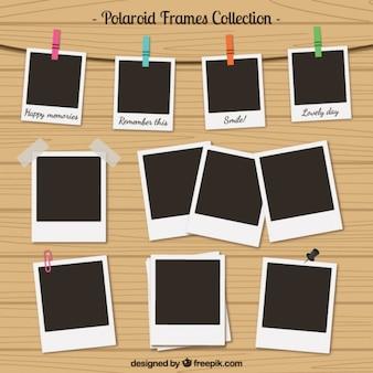 Colección de marcos de polaroid en estilo retro