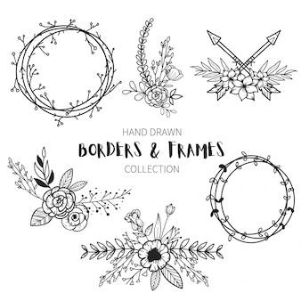 Colección de marcos y bordes dibujados a mano
