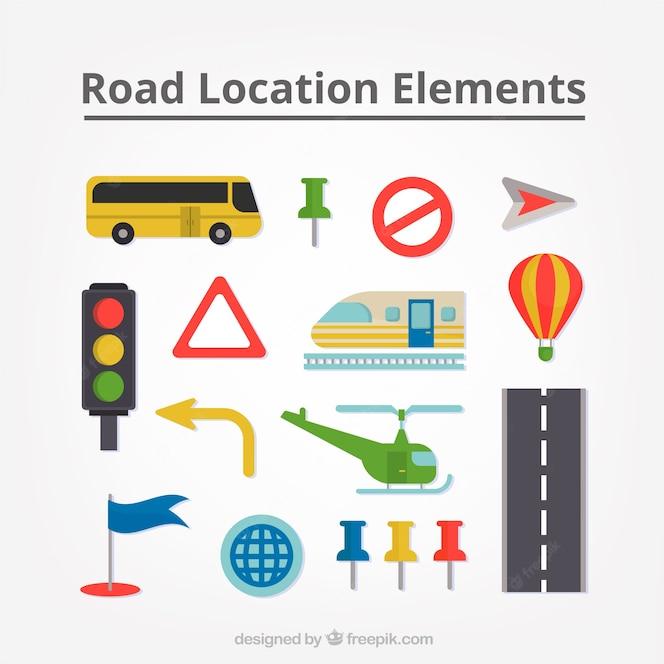 Colección de medios de transporte y señales de tráfico
