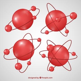 Colección de moléculas rojas