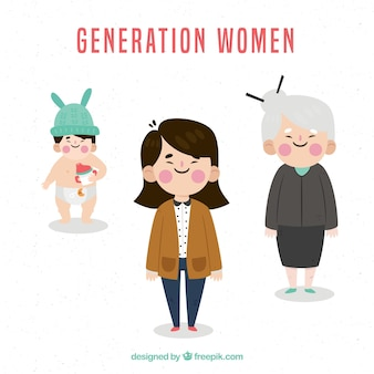 Colección de mujeres asiáticas en edades diferentes