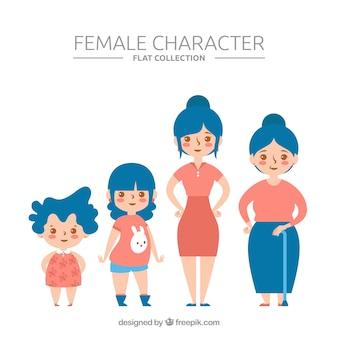 Colección de mujeres blancas en edades diferentes