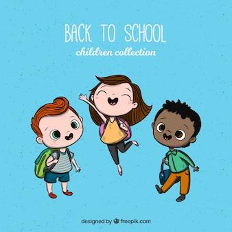 Colección de niños de vuelta al cole