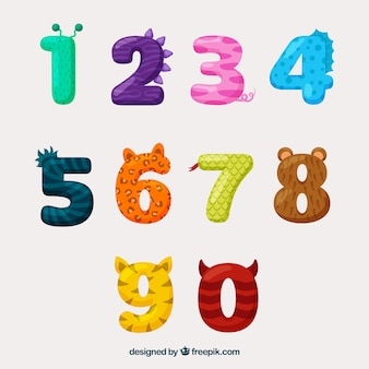 Colección de números con aspecto animal