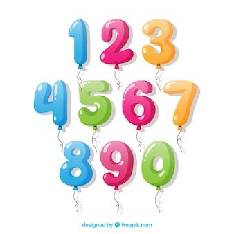 Colección de números de globos