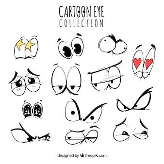 Colección de ojos de dibujos animados con expresiones divertidas