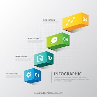 Colección de pasos de infografía con muchos colores