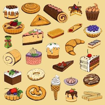 Colección de pasteles dulces