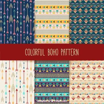 Colección de patrones boho coloridos