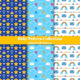 Colección de patrones de bebé con elementos planos
