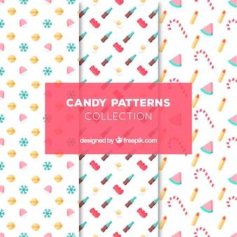Colección de patrones de dulces deliciosos en estilo plano