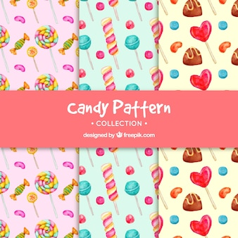 Colección de patrones de dulces en estilo acuarela