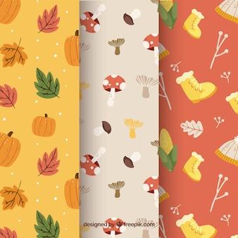 Colección de patrones de otoño con elementos
