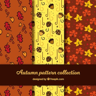 Colección de patrones de otoño dibujados a mano