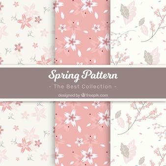 Colección de patrones de primavera blancos y rosas