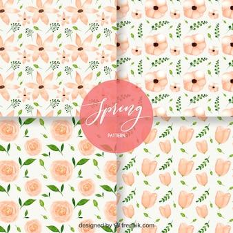 Colección de patrones de primavera en acuarela