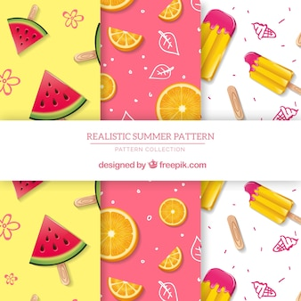 Colección de patrones de verano con elementos planos