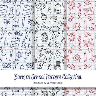 Colección de patrones de vuelta al cole dibujados a mano