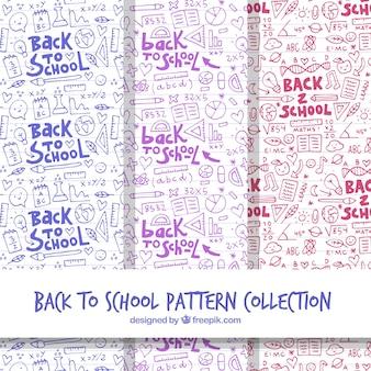 Colección de patrones de vuelta al cole en estilo dibujo a mano