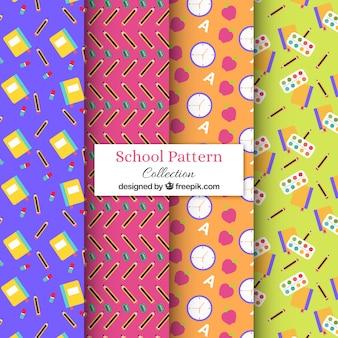 Colección de patrones de vuelta al colegio con diseño plano