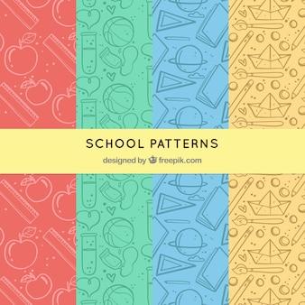 Colección de patrones de vuelta al colegio con elementos diferentes