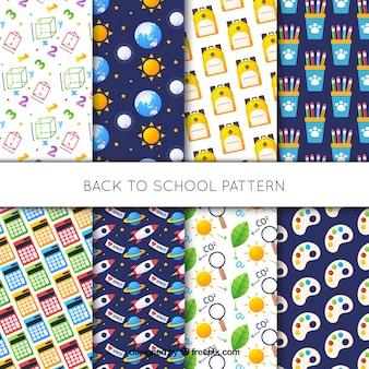 Colección de patrones de vuelta al colegio con elementos