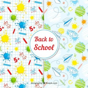 Colección de patrones de vuelta al colegio dibujados a mano