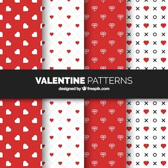Colección de patrones planos de san valentín con corazones