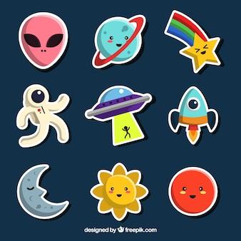 Colección de pegatinas divertidas del espacio