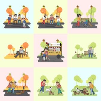 Colección de perros y actividades al aire libre