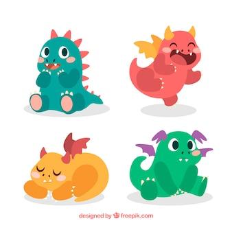 Colección de personajes de bebé de dragón dibujados a mano