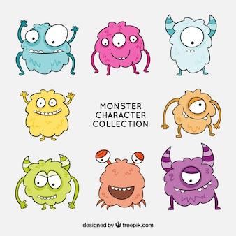 Colección de personajes de monstruos divertidos