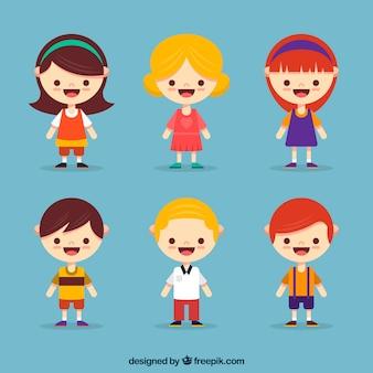 Colección de personajes de niños con diseño plano