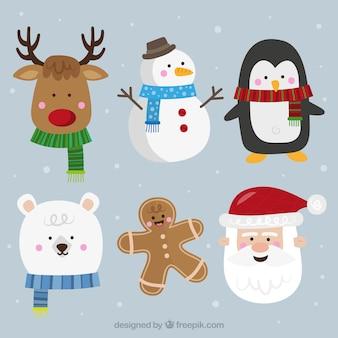 Colección de personajes típicos de navidad en diseño plano