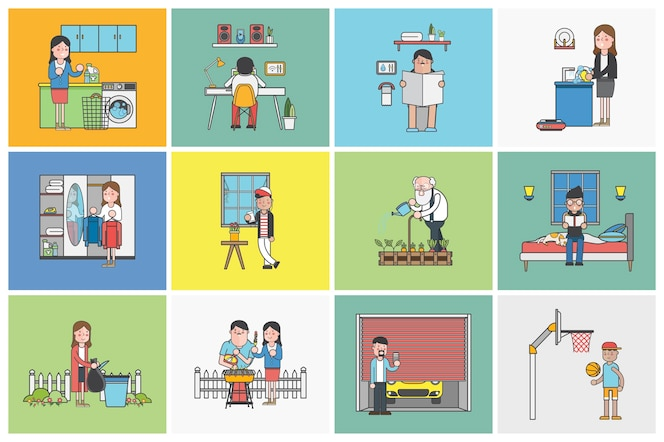 Colección de personas ilustradas en diversas situaciones cotidianas