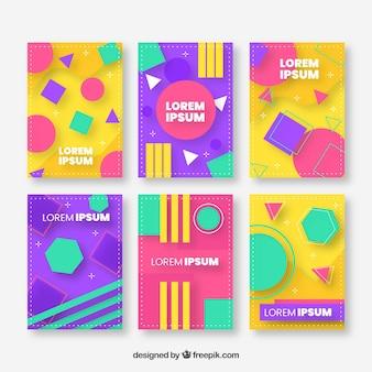 Colección de plantillas de portada con diseño geométrico